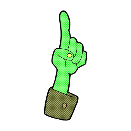 cuffs: retro comic book style cartoon pointing zombie hand Illustration