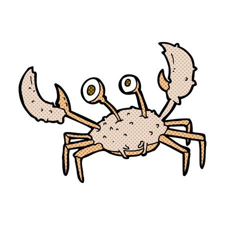 pincers: retro comic book style cartoon crab Illustration