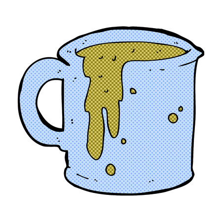 coffee spill: retro comic book style cartoon coffee mug