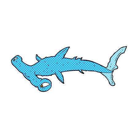 retro comic book style cartoon hammerhead shark Vector