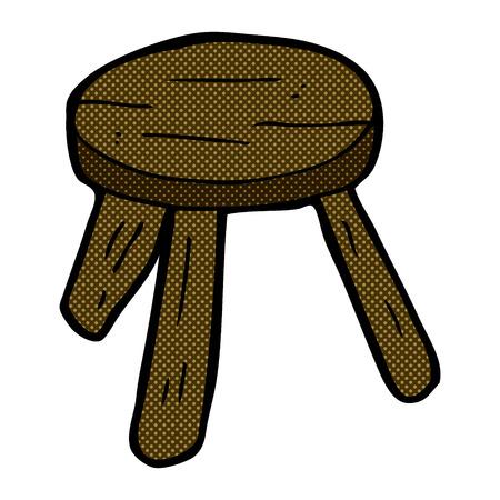 wooden stool: retro comic book style cartoon wooden stool