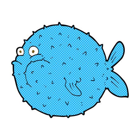 puffer fish: retro comic book style cartoon puffer fish