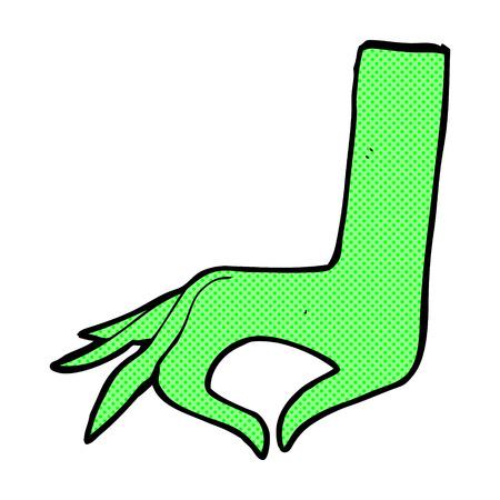 green hand: retro comic book style cartoon green hand symbol Illustration