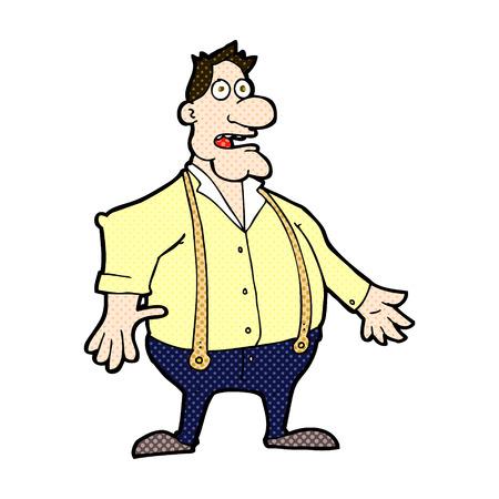 shocked man: retro comic book style cartoon shocked man