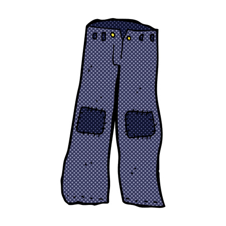 repaired: retro comic book style cartoon patched old jeans