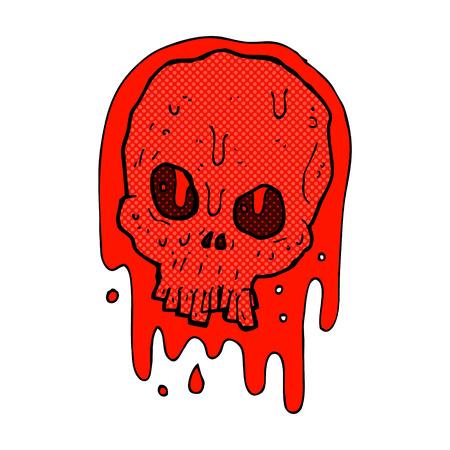 bloody hand print: retro comic book style cartoon blood skull