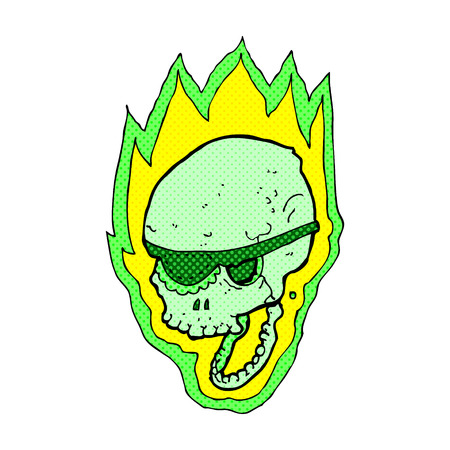 flaming: retro comic book style cartoon flaming pirate skull
