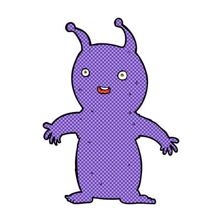 invader: retro comic book style cartoon happy little alien Illustration