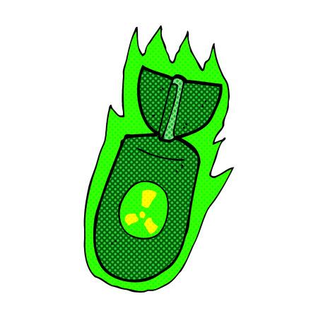 retro comic book style cartoon atom bomb Vector