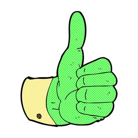 retro comic book style cartoon thumbs up symbol Vector