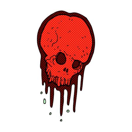 retro comic book style cartoon scary skull Vector
