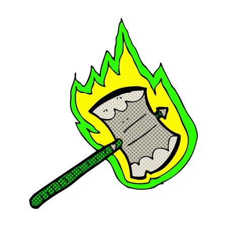 flaming: retro comic book style cartoon flaming axe