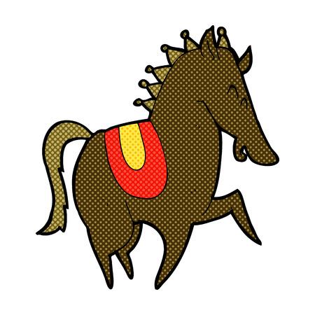 retro comic book style cartoon prancing horse Vector