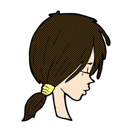 crazy hair: retro comic book style cartoon girl looking thoughtful