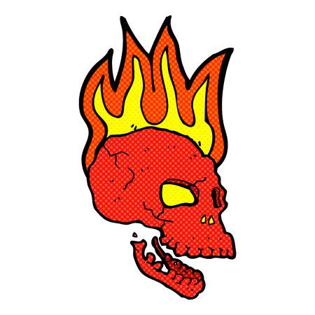 flaming: retro comic book style cartoon flaming skull