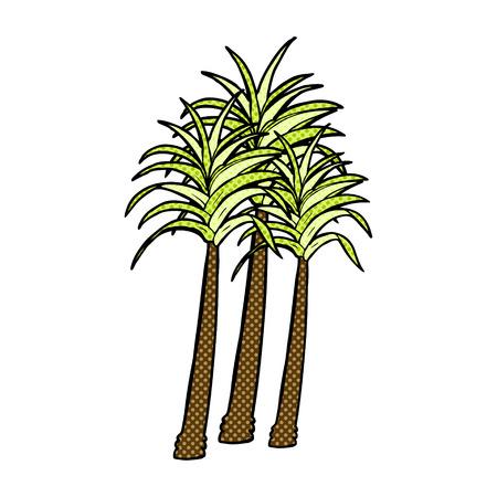 cartoon palm tree: retro comic book style cartoon palm tree