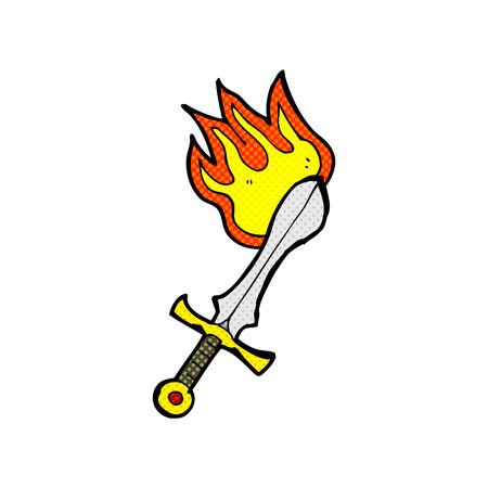 flaming: retro comic book style cartoon flaming sword