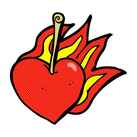flaming heart: retro comic book style cartoon flaming heart cherry Illustration