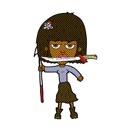 harpoon: retro comic book style cartoon woman with knife and harpoon Illustration