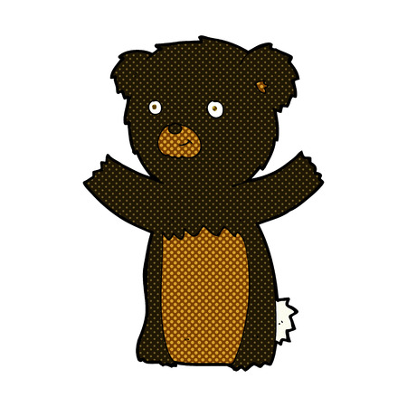 cub: retro comic book style cartoon black bear cub