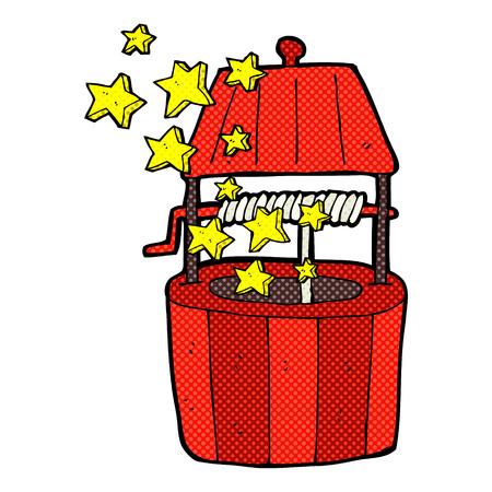 wishing: retro comic book style cartoon wishing well