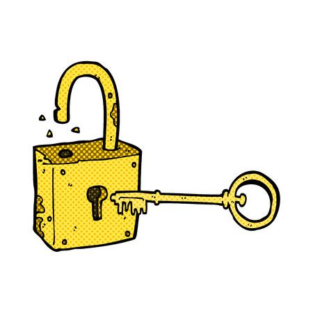 old padlock: retro comic book style cartoon rusty old padlock