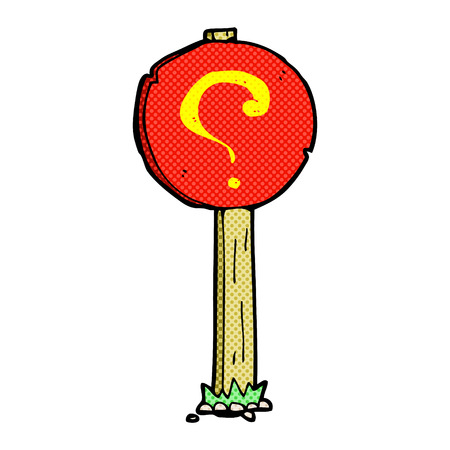 book mark: retro comic book style cartoon question mark sign post Illustration
