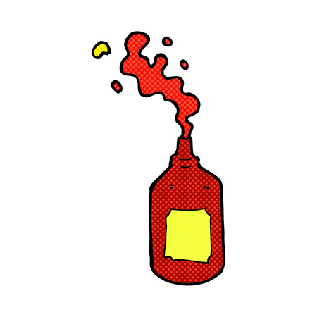 squirting ketchup: retro comic book style cartoon squirting ketchup bottle