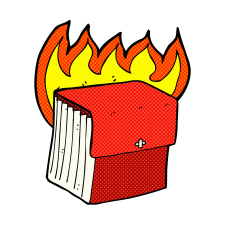 organised: retro comic book style cartoon burning business files Illustration