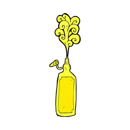 retro comic book style cartoon mustard bottle