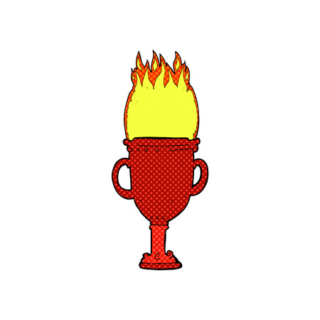 flaming: retro comic book style cartoon flaming trophy Illustration