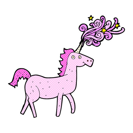 retro comic book style cartoon magical unicorn