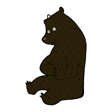 black bear: retro comic book style cartoon happy black bear Illustration