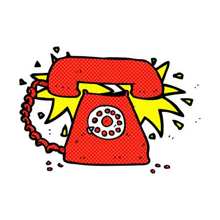 telephone cartoon: retro comic book style cartoon ringing telephone
