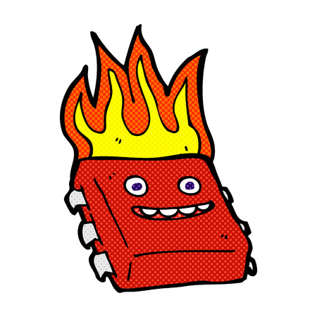 computer chip: retro comic book style cartoon red hot computer chip