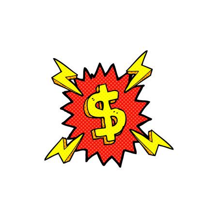 dollar symbol: retro comic book style cartoon dollar symbol