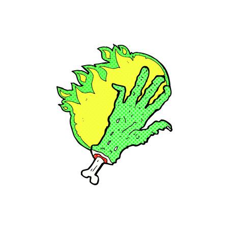 retro comic book style cartoon gross flaming zombie hand