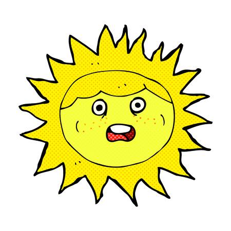 comic book character: sun retro comic book style cartoon character
