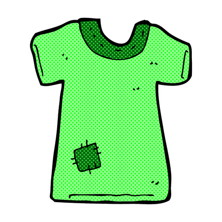 patched: retro comic book style cartoon patched old tee shirt