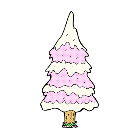 pink tree: retro comic book style cartoon snowy pink tree