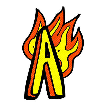 retro comic book style cartoon flaming letter