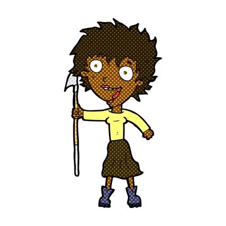 harpoon: retro comic book style cartoon crazy woman with spear Illustration