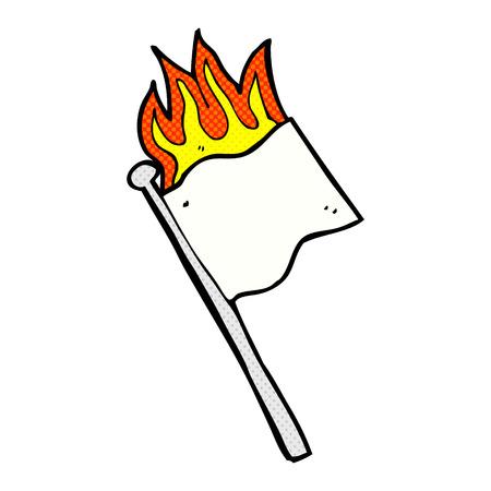 no surrender: retro comic book style cartoon burning white flag