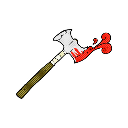 bloody hand print: retro comic book style cartoon double sided axe