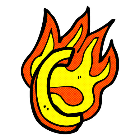 flaming: retro comic book style cartoon flaming letter