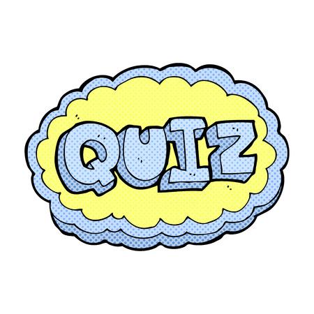 kwis: retro comic book stijl cartoon quiz teken
