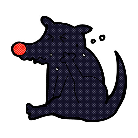 and scratching: retro comic book style cartoon dog scratching