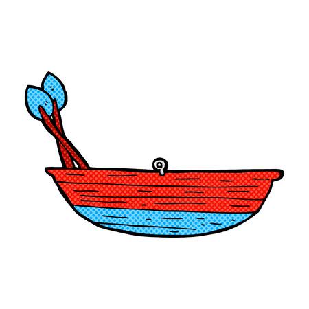 rowing boat: retro comic book style cartoon rowing boat