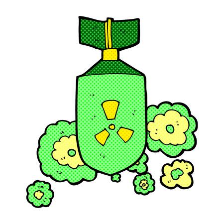 nuclear bomb: retro comic book style cartoon nuclear bomb Illustration