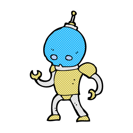 alien robot: retro comic book style cartoon alien robot